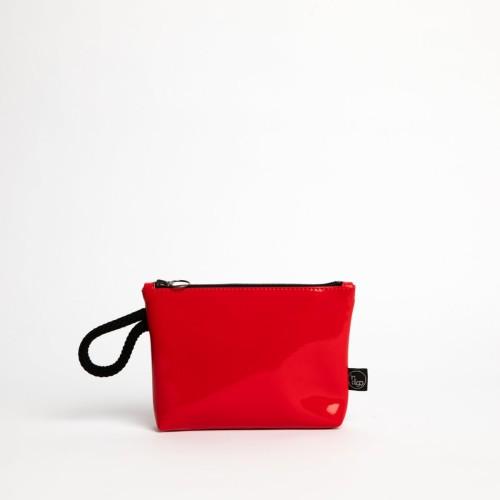 LACK RED CLUTCH BAG 2in1
