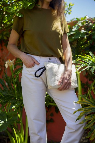 ANANAS NATURAL CLUTCH BAG 2in1 L size
